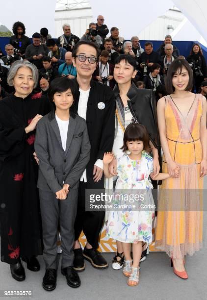 Kirin Kiki Hirokazu Koreeda Jyo Kairi Lily Franky Miyu Sasaki Sakura Ando and Mayu Matsuoka attends the photocall for Shoplifters during the 71st...