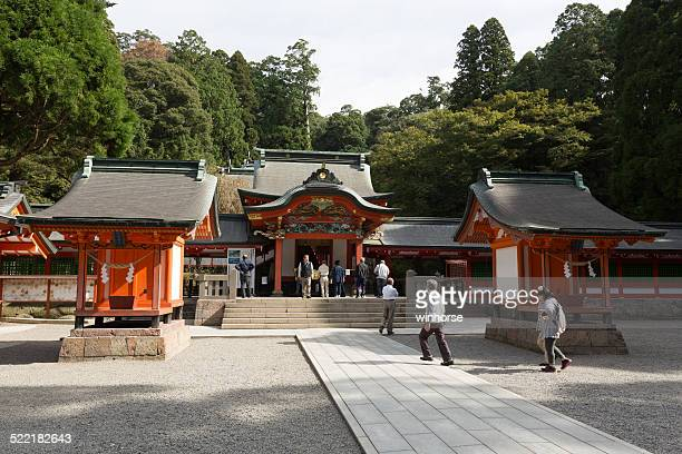 kirishima jingu shrine in japan - shinto shrine stock pictures, royalty-free photos & images
