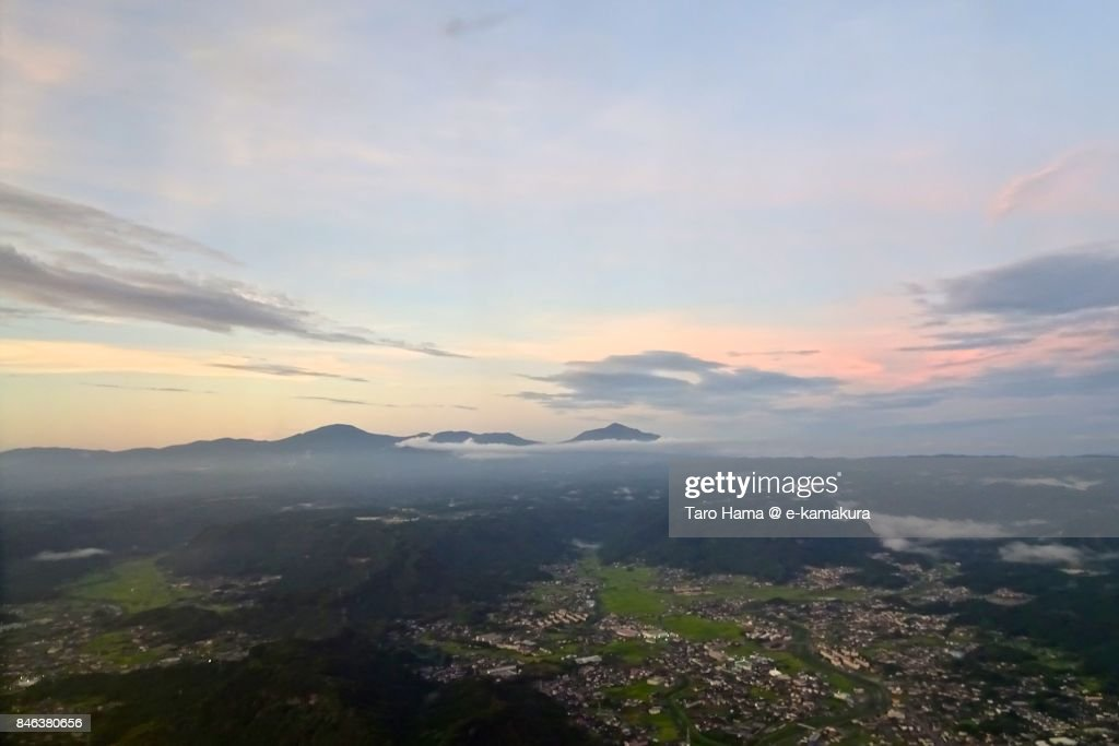 Kirishima mountains in Kagoshima prefecture sunset time aerial view from airplane : ストックフォト