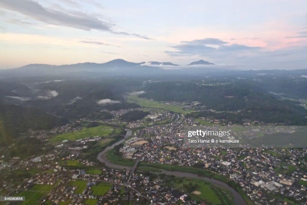 Kirishima mountains in Kagoshima prefecture sunset time aerial view from airplane : ストックフォト
