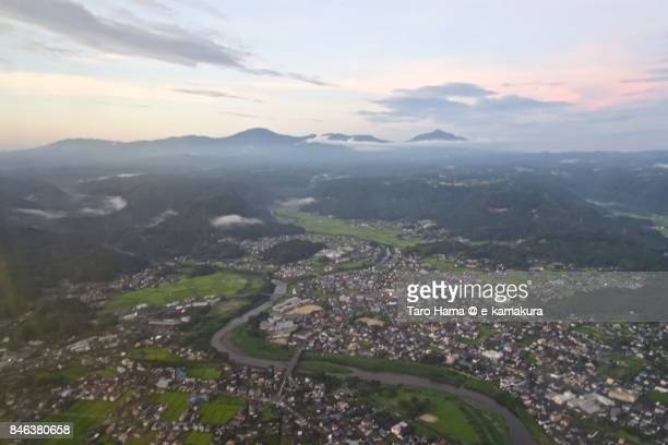 Kirishima mountains in Kagoshima prefecture sunset time aerial view from airplane