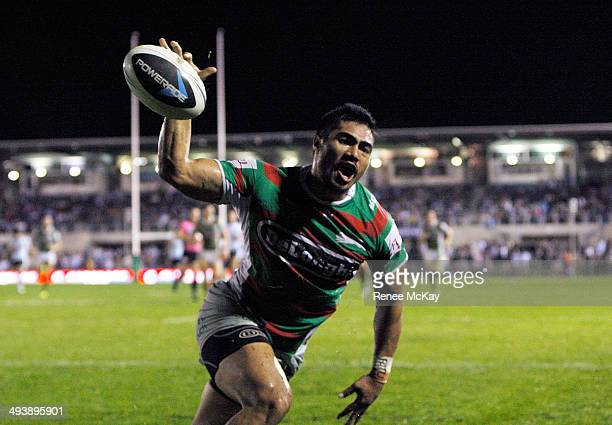 Kirisome Auva'a of the Rabbitohs celebrates a try during the round 11 NRL match between the Cronulla-Sutherland Sharks and the South Sydney Rabbitohs...