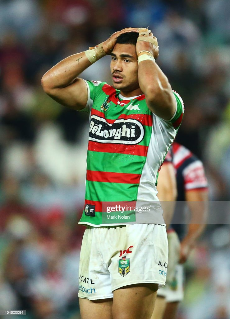 Kirisome Auva'a of the Rabbitohs reacts after being sin binned during the round 26 NRL match between the Sydney Roosters and the South Sydney Rabbitohs at Allianz Stadium on September 4, 2014 in Sydney, Australia.