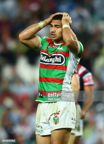 Kirisome Auva'a of the Rabbitohs reacts after being sin binned during the round 26 NRL match between the Sydney Roosters and the South Sydney...