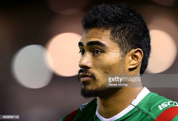 Kirisome Auva'a of the Rabbitohs waits for kick off during the round 11 NRL match between the Cronulla-Sutherland Sharks and the South Sydney...