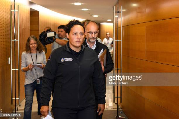 Kiritapu Allan, Minister for Emergency Response arrives to speak with media on March 05, 2021 in Wellington, New Zealand. Tsunami warnings are in...