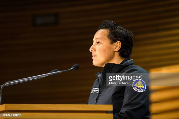 Kiritapu Allan, Minister for Emergency Response speaks with media on March 05, 2021 in Wellington, New Zealand. Tsunami warnings are in place for...