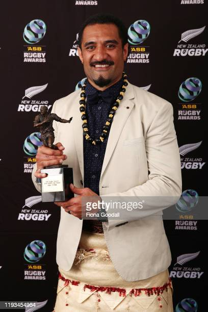 Kirk Award winner Hale TPole poses for a photograph during the New Zealand Rugby Awards at the Sky City Convention Centre on December 12 2019 in...