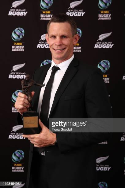 Kirk Award winner Josh Blackie poses for a photograph during the New Zealand Rugby Awards at the Sky City Convention Centre on December 12 2019 in...