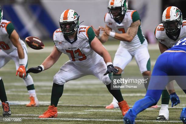 Kirk Barron of the Seattle Dragons during an XFL game against the St. Louis Battlehawks at the Dome at America's Center on February 29, 2020 in St....