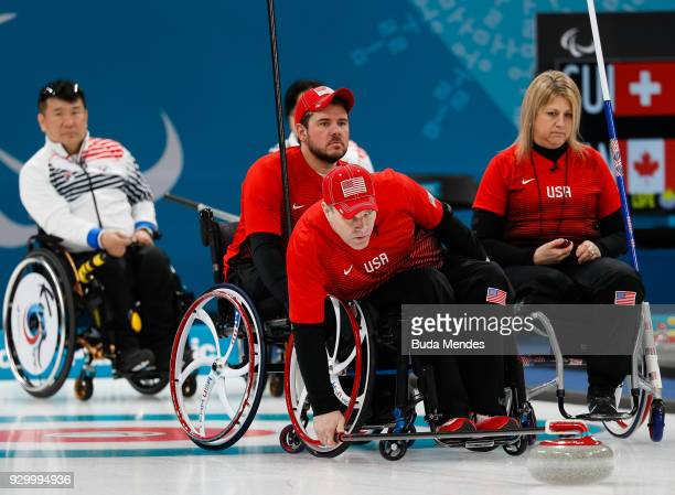 Kirk Black of the United States competes in the Wheelchair Curling Round Robin Session 01 during day one of the PyeongChang 2018 Paralympic Games at...