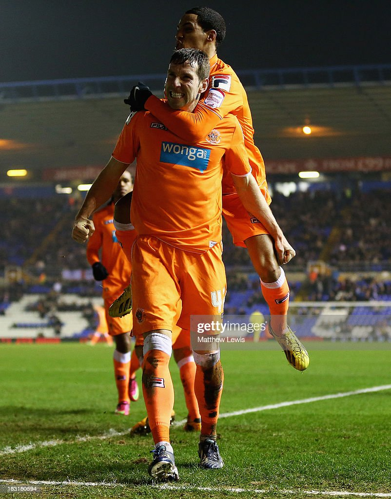 Kirk Broadfoot of Blackpool celebrates his goal with his team mates during the npower Championship match between Birmingham City and Blackpool at St Andrews on March 5, 2013 in Birmingham, England.