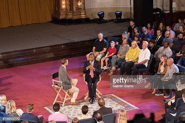 """Kirk Cameron and Dr Ben Carson attend Kirk Cameron's """" Revive Us"""" event at Harvest Cathedral on October 18, 2016 in Chicago City."""