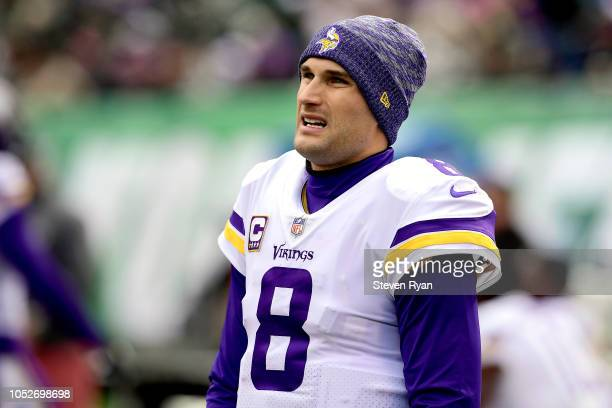 Kirk Cousins of the Minnesota Vikings looks on from the sideline during the second quarter against the New York Jets at MetLife Stadium on October 21...