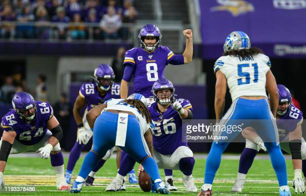 Kirk Cousins of the Minnesota Vikings on the field in the third quarter of the game against the Detroit Lions at US Bank Stadium on December 8 2019...