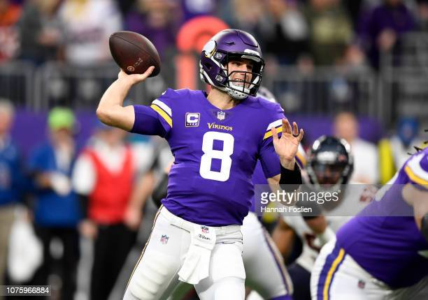 Kirk Cousins of the Minnesota Vikings passes the ball in the first quarter of the game against the Chicago Bears at US Bank Stadium on December 30...