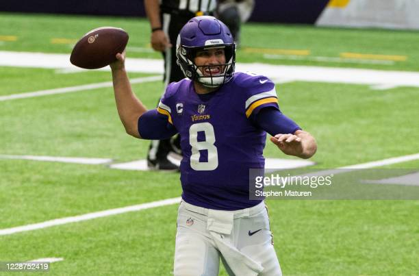 Kirk Cousins of the Minnesota Vikings passes the ball in the first quarter against the Tennessee Titans at U.S. Bank Stadium on September 27, 2020 in...