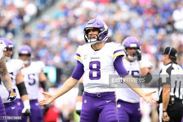 Kirk Cousins of the Minnesota Vikings reacts against the New York Giants during the second quarter in the game at MetLife Stadium on October 06, 2019...