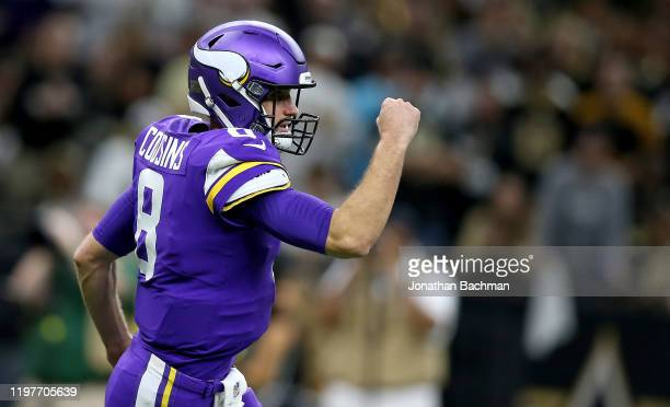 Kirk Cousins of the Minnesota Vikings reacts to a play during the first half against the New Orleans Saints in the NFC Wild Card Playoff game at...