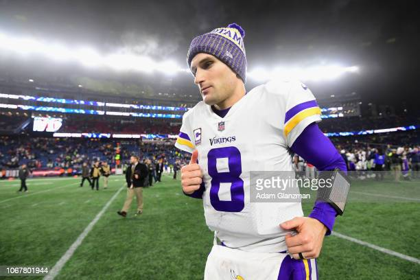 Kirk Cousins of the Minnesota Vikings runs off the field after the New England Patriots defeated the Minnesota Vikings 2410 at Gillette Stadium on...
