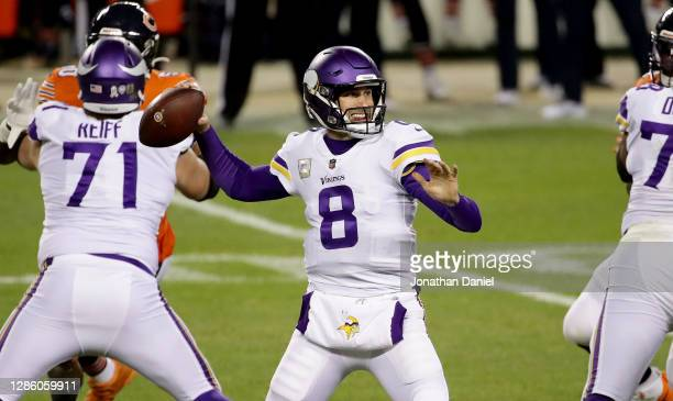 Kirk Cousins of the Minnesota Vikings throws a pass during the game against the Chicago Bears at Soldier Field on November 16, 2020 in Chicago,...