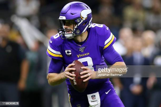 Kirk Cousins of the Minnesota Vikings throws the ball against the New Orleans Saints during a game at the Mercedes Benz Superdome on January 05, 2020...