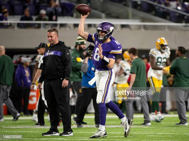 Kirk Cousins of the Minnesota Vikings warms up before the game against the Green Bay Packers at US Bank Stadium on November 25 2018 in Minneapolis...