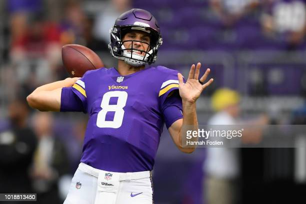 Kirk Cousins of the Minnesota Vikings warms up before the preseason game against the Jacksonville Jaguars on August 18, 2018 at US Bank Stadium in...