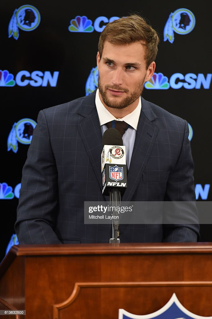 Kirk Cousins #8 of the Washington Redskins addresses the media after a football game against the Baltimore Ravens at M&T Bank Stadium on October 9, 2016 in Baltimore, Maryland.