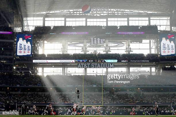 Kirk Cousins of the Washington Redskins completes a pass against the Dallas Cowboys in the second quarter at ATT Stadium on November 24 2016 in...