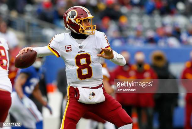 Kirk Cousins of the Washington Redskins in action against the New York Giants on December 31 2017 at MetLife Stadium in East Rutherford New Jersey...