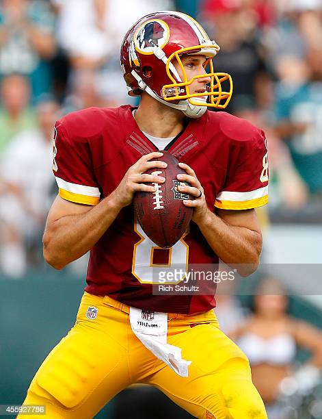 Kirk Cousins of the Washington Redskins looks to pass during a football game against the Philadelphia Eagles at Lincoln Financial Field on September...