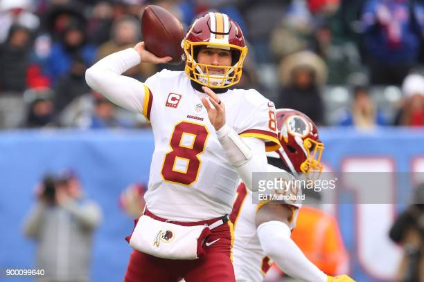 Kirk Cousins of the Washington Redskins throws a pass during the first half of their game against the New York Giants at MetLife Stadium on December...