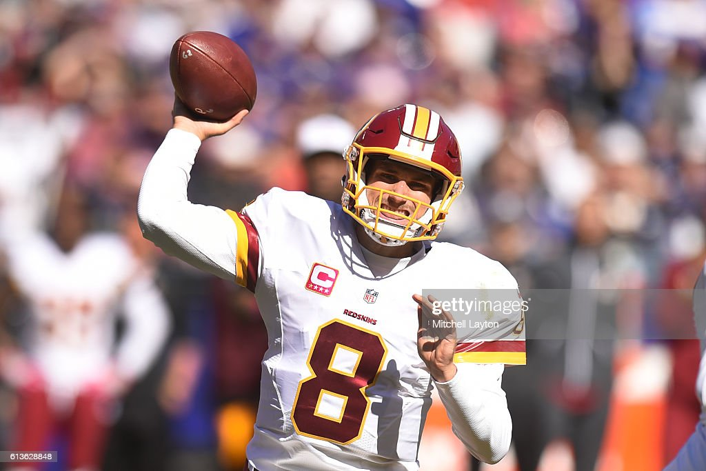 Kirk Cousins #8 of the Washington Redskins throws a pass in the third quarter during a football game against the Baltimore Ravens at M&T Bank Stadium on October 9, 2016 in Baltimore, Maryland.