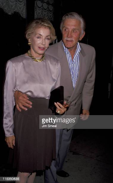 Kirk Douglas and Anne Douglas during Sheldon Book Party Memories of Midnight at Bistro Restaurant in Beverly Hills California United States