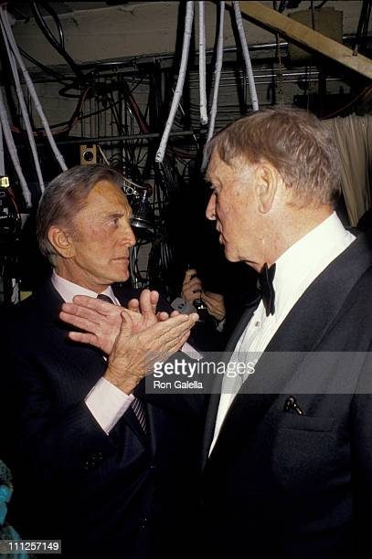 Kirk Douglas and Burt Lancaster during The American Academy of Dramatic Arts Tribute to Kirk Douglas at Waldorf Astoria Hotel in New York City New...
