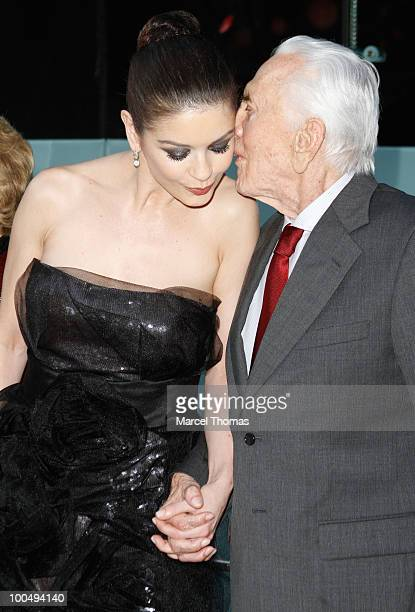 Kirk Douglas and Catherine Zeta Jones attend the The Film Society of Lincoln Center's 37th Annual Chaplin Award gala>> at Alice Tully Hall on May 24...