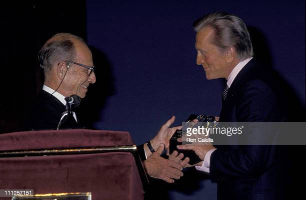 Kirk Douglas and Hume Cronyn during The American Academy of Dramatic Arts Tribute to Kirk Douglas at Waldorf Astoria Hotel in New York City New York...