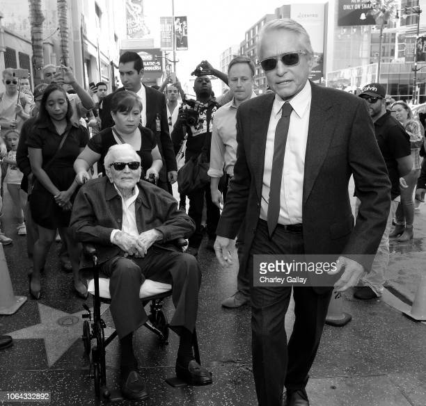 Kirk Douglas and Michael Douglas arrive to the Hollywood Walk of Fame Ceremony Honoring Michael Douglas on Hollywood Boulevard on November 06 2018 in...