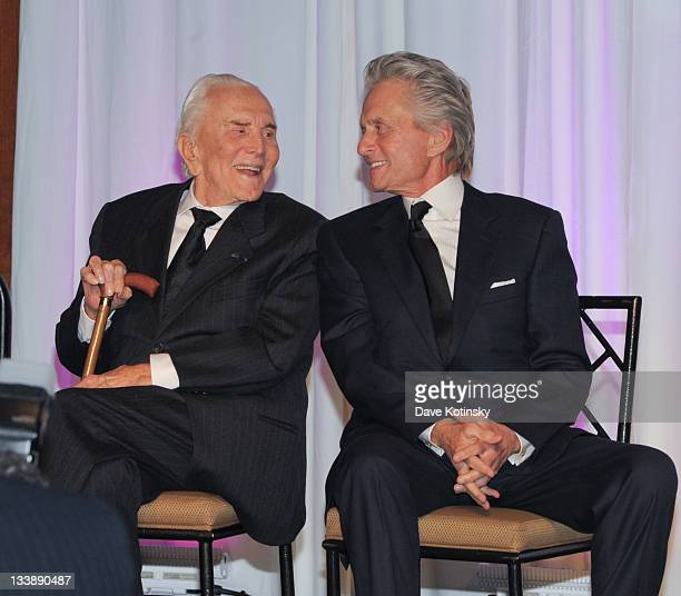 Kirk Douglas and Michael Douglas attends the 2011 Children of Chernobyl's Children at Heart gala at the Chelsea Piers on November 21 2011 in New York...