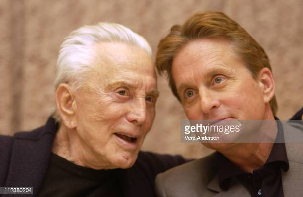 Kirk Douglas and Michael Douglas during It Runs in the Family Press Conference with Michael Douglas Kirk Douglas Diana Douglas and Cameron Douglas at...