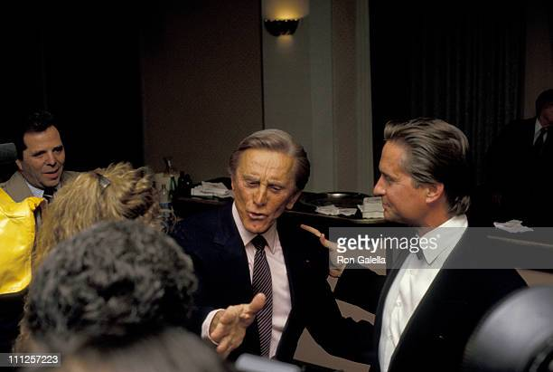 Kirk Douglas and Michael Douglas during The American Academy of Dramatic Arts Tribute to Kirk Douglas at Waldorf Astoria Hotel in New York City New...