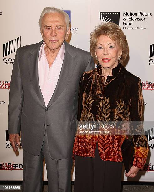 Kirk Douglas and wife Anne Douglas arrives for the third annual A Fine Romance an evening of celebrity performances honoring musicals from stage and...