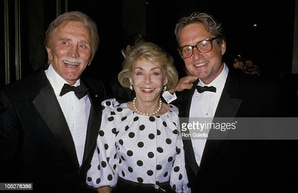 Kirk Douglas Anne Douglas and Michael Douglas during Neil Jacobs International Peace Awards Dinner at Beverly Wilshire Hotel in Beverly Hills...