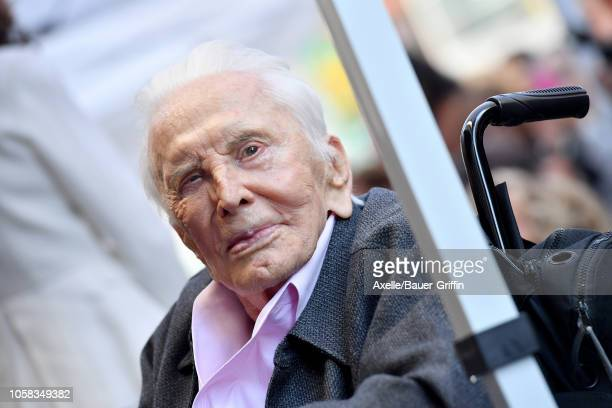 Kirk Douglas attends the ceremony honoring Michael Douglas with star on the Hollywood Walk of Fame on November 06 2018 in Hollywood California