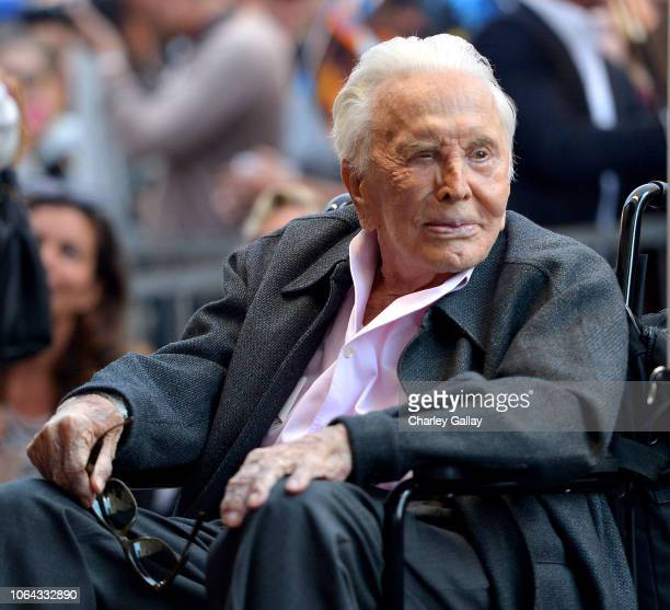 Kirk Douglas attends the Hollywood Walk of Fame Ceremony Honoring Michael Douglas on Hollywood Boulevard on November 06 2018 in Hollywood California