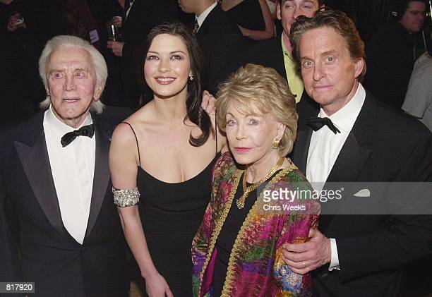 Kirk Douglas Catherine ZetaJones Anne Douglas and Michael Douglas arrive at An Unforgettable Evening presented by Saks Fifth Avenue benefitting...
