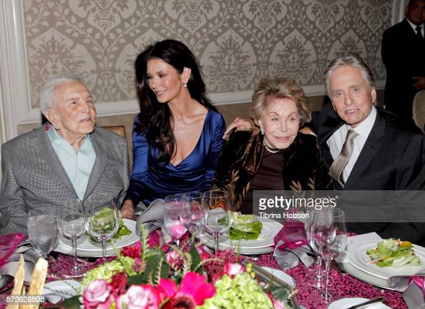 Kirk Douglas Catherine ZetaJones Anne Douglas and Michael Douglas attend the Los Angeles Mission Legacy of Vision Gala at Four Seasons Hotel Los...