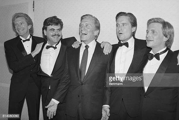 Kirk Douglas center poses with his four sons during a gala evening at the Majestic Theatre in Manhattan where he was honored by the American Academy...