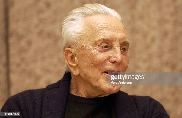 Kirk Douglas during 'It Runs in the Family' Press Conference with Michael Douglas Kirk Douglas Diana Douglas and Cameron Douglas at The Four Seasons...